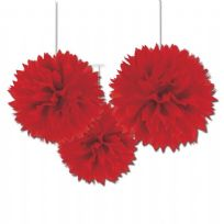 Apple Red Fluffy Pom Pom Decorations (3)